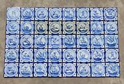 1900s Spanish Blue And White Figural Tile Mural Panel Set Of 40 Earthenware