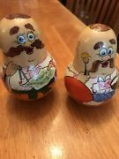 Russian Roly Poly Chime Wooden Painted Wobbling Doll Man Pair Map Chef