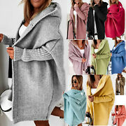 Womens Knitted Cardigan Chunky Hooded Open Front Sweater Coat Winter Oversized