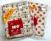 Lot Of 19 New Sheets Vintage Christmas Wrapping Paper Usa Santa Tree Poinsettia