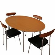 Stag S Range Model S210 Oval Dining Table And S230 Black Leather Chairs