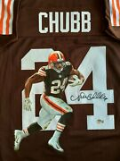 Nick Chubb Autographed-hand Painted Portrait Browns Jersey. Beckett Coa