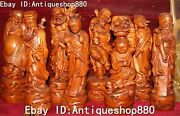 11 Chinese Boxwood Carving Eight Immortals God Take Lotus Basket Statue Set