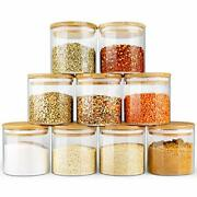 Glass Jars With Bamboo Lids Ecoevo Glass Food Jars And Canisters Sets 9 Pack ...