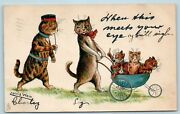 Postcard Louis Wain Cats When This Meets Your Eye Baby Buggy Tuck 1905 Aa8