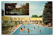 Postcard Pa Tannersville Pennsylvania Elmerand039s Motel And Cottages Swimming Pool2s22