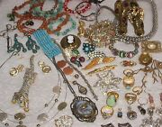 Vintage Estate Costume Jewelry Signed And Unsigned Assortment Great Lot As Is