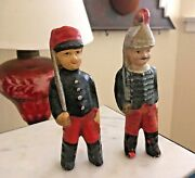 Antique Paper Mache Toy Soldiers, 4 And 4-1/2 Tall, Painted Red And Blue, Xmas