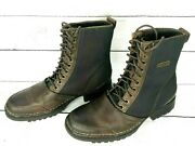Rj Colt Menand039s Marine Boots 8m Brown Leather Black Canvas Lace-up 9 High