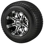 4golf Cart 205/50-10 Tire On 10x7 Black/machined Tempest Wheel Free Freight