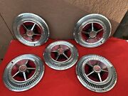 5 Vintage 65,66 Thunderbird Hubcaps 15 Inch With Wheel Covers,great Cond