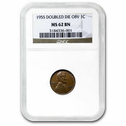 1955 Lincoln Cent Doubled Die Obverse Ms-62 Ngc Brown - Sku198434
