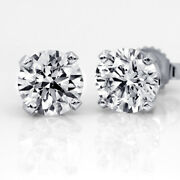 1 Ct Diamond Stud Earrings Round Cut D Si2 14k White Gold Solitaire 52409629