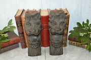 Antique Pair Carved Wood Lion Heads Corbels Brackets Architectural Salvage