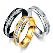 Womenand039s Stainless Steel Cz Rings For Girl Engagement Wedding Party Ring Gift