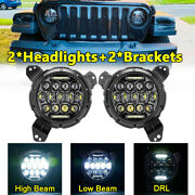 Pair 7inch Led Headlights+9inch Brackets Drl Hi-lo For Jeep Wrangler Jl2018-2021