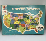"""1975 Milton Bradley Puzzle Authentic Map Of The United States And World Map 20x14"""""""