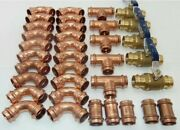 Lot Of 35 1-1/2 Propress Copper Fittings.tees Elbows Coupling Press Ball Val