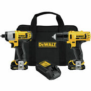 Dewalt 2-tool 12-volt Combo Kit- Drill And Impact Driver W/ Case 2 Batts Charger