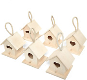 Aqueenly Bird Houses For Outside 6 Pack Unfinished Wood Hanging Birdhouse Kit B