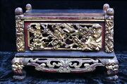 Large Antique Chinese Wooden Red Gold Altar Box / Stand Qing Dynasty 19th C