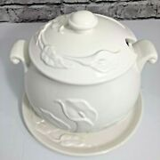 Himark Japan White Embossed Lily 3 Piece Soup Tureen Set Tureen Lid Plate