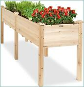 Raised Garden Bed, Elevated Wood Planter Box Stand For Balcony Backyard, Patio