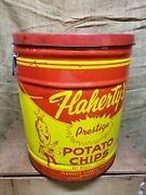 Vintage 1960and039s Flahertyand039s Prestige Potato Chips 3 Lb Can Akron Ohio Tin Can Chip