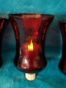 4 Home Interiors Red 5.5 Tall Votive Cup Candle Holders + 3 Flickering Candles