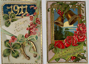 2 Vintage 1911 New Years Postcards Postkarte Saxony Germany Unposted Rare