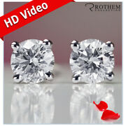 9500 2 Carat Diamond Stud Earrings Solitaire Round White Gold I2 34451380