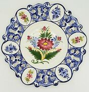 Portugal Ceramic Wall Platters Hand Painted Floral Signed Large 13andrdquo Plates Rccl