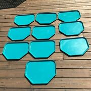 Vintage Cafeteria Food Tray School Prison Church Trays Lot Of 10 Blue Turquoise