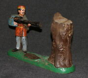 Bank Antique Cast Iron Mechanical 1877 J And E Stevens Creedmore Coin Soldier Tree