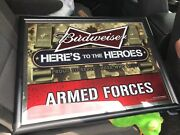 Budweiser Here's To The Heroes U.s. Armed Forces Mirror Army Marines Af Navy