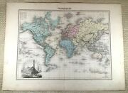 1903 Antique Map Of The World French 19th Century Old Hand Coloured Engraving