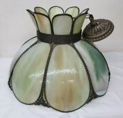1967 L And L Wmg Green Stained Glass Ceiling Light Fixture 12 Tall 18.5 D Beauty
