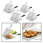 Bbq Grill Basket For Grilling Fish Meat Steak Clip Holder Camping Picnic