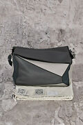 Bnwt Loewe Menand039s Grey Xl Puzzle Full Grain Leather Messenger Bag3950