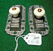 Two Matching Vintage Eastlake Cabinet Latches W/ Keepers A-511