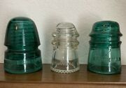 One Hemingray-9 And Two Brookfield Electrical Glass Insulators...lot Of Three.