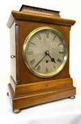 Antique Dingle Fusee Mahogany Mantel Clock With Pagoda Top With Travel Nut