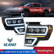 Pair Full Led Projector Headlights W/ Sequential Signal For 2009-2014 Ford F-150