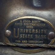 Boy Scout Vintage Metal Campaign Hat A Good Scout Saves University State Bank