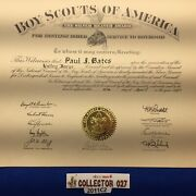 Boy Scout 1957 Silver Beaver Award Certificate Paul Bates Valley Forge Council