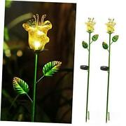 Flower Solar Stake Lights Outdoor2 Pack Solar Powered Metal Stake With Yellow