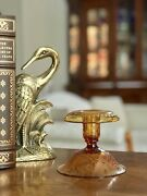Pairpoint Catalog 1642 Crystal Amber Candlestick In Berries And Leaves Pattern
