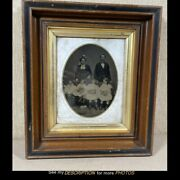 Antique Full Plate Tintype Parents And 4 Children Black Walnut Deep Frame