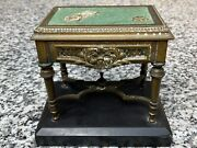 Rare 1900s Antique Brass Playing Cards Gaming Table Match Holder Safe Box