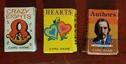 Lot Of 3 Vintage Whitman Card Game Minis Authors Hearts Crazy Eights